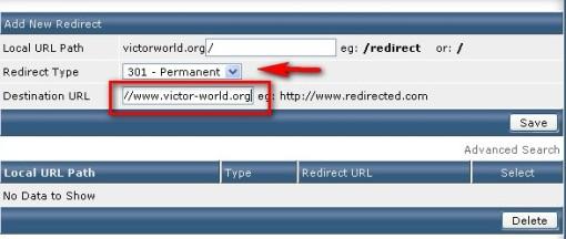 填寫要重定向的域名